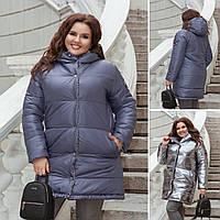 Женская модная двухсторонняя зефирка фальга+плащевка48-58р. (3расцв)