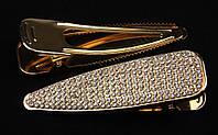 Заколка уточка золотистая металлическая с камнями чешское стекло