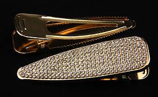 Шпилька качечка золотиста металева з камінням чеське скло