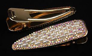Шпилька качечка золотиста металева з перлинками і камінням чеське скло