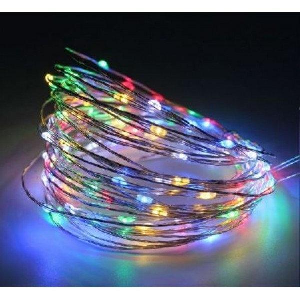 Новогодние гирлянды | Гирлянды | Медная проволочная лампа 10м (контрол.220V) (СП) Микс RD-7106