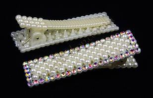 Шпилька пластикова качка з перлинками і камінням чеське скло