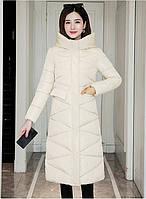 Женское стеганое зимнее пальто пуховик с капюшоном белое, фото 1