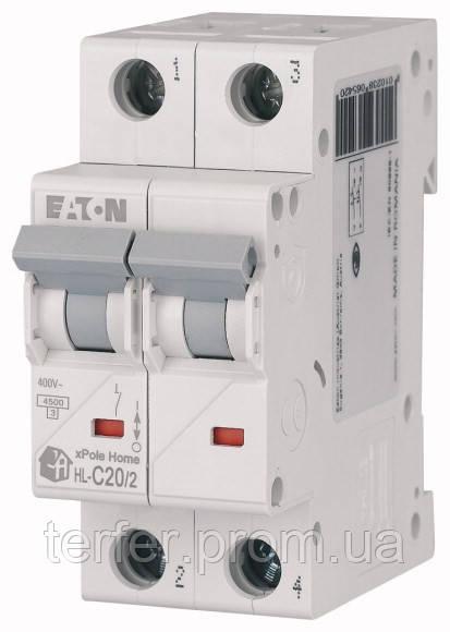 Автоматичний вимикач 20А, х-ка C, 2 полюса, 4,5 кА HL-C20/2