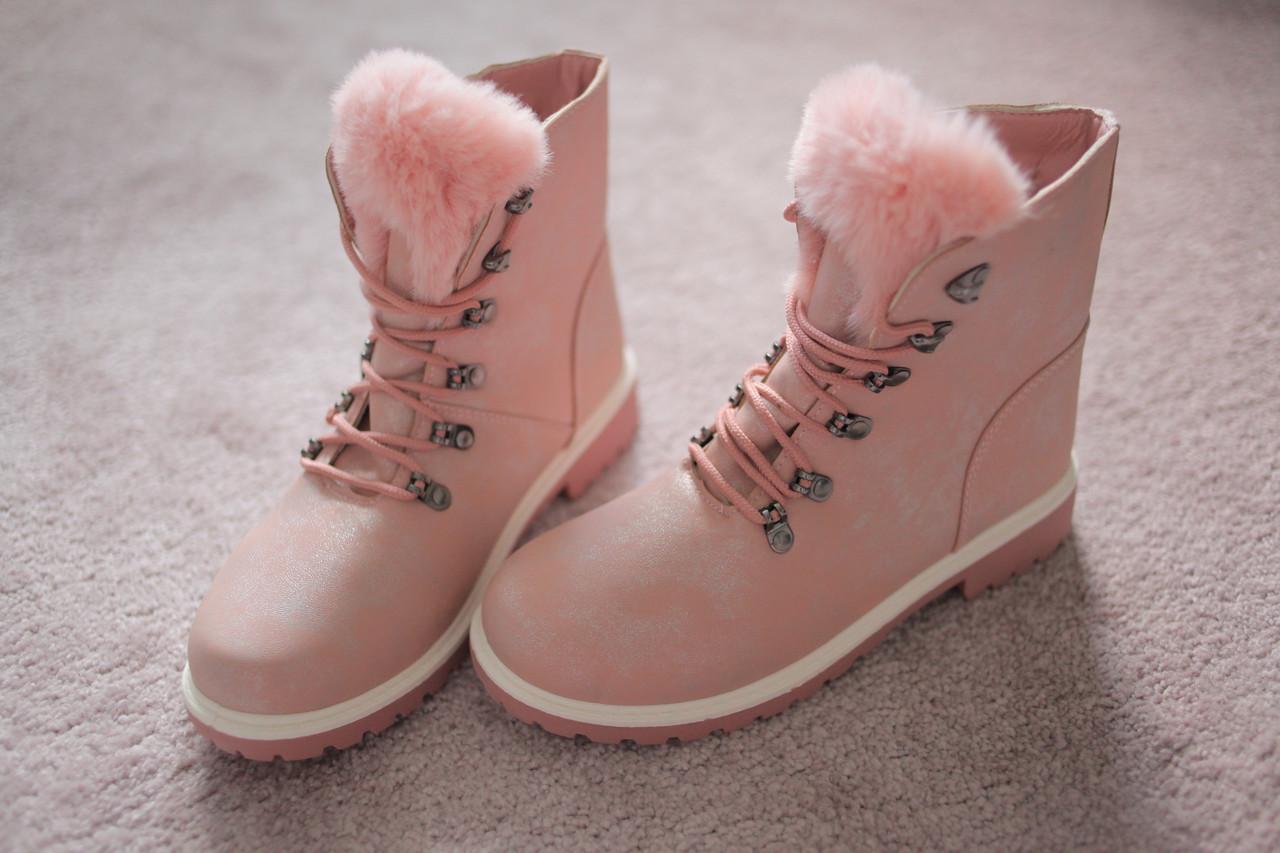 Женские ботинки кожа мех Тимберленды розовые 39-40
