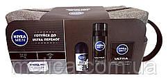 Подарочный набор Nivea Men Ultra в косметичке (гель для бритья+лосьон после бритья+антиперспирант ролл)