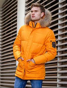 Мужской зимний оранжевый пуховик с натуральным мехом Hermzi 48-58 р