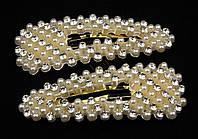 Заколка хлопушка тик-так с жемчугом и камнями чешское стекло
