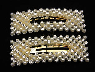 Шпилька хлопавка тік-так з перлами та камінням чеське скло