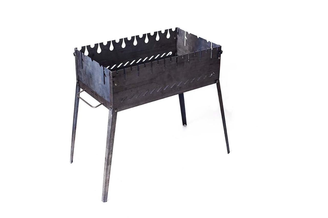 Мангал чемодан раскладной на 8 шампуров для барбекю на пикнике из черного металла