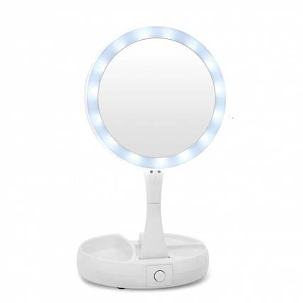Зеркало трансформер для макияжа с LED подсветкой и увеличением (двойное) FOLDAWAY белое