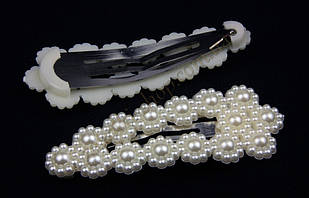 Шпилька хлопавка тік-так з перлами