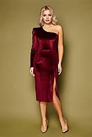Бордовое велюровое  платье на одно плечо Саманта S, M, L