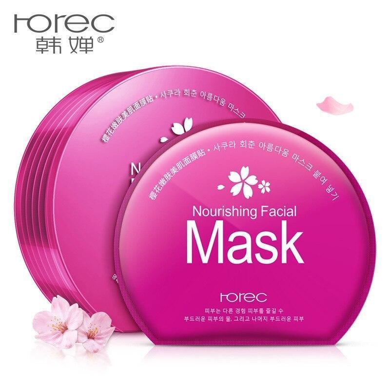Маска Rorec Sakura Rejuvenation Facial Mask у пластиковому контейнері рожева (1шт)