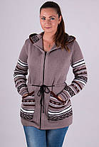 Тёплая женская вязанная кофта с узорами на молнии с 44 по 54 размер, фото 3