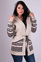 Тёплая женская вязанная кофта с узорами на молнии с 44 по 54 размер, фото 2
