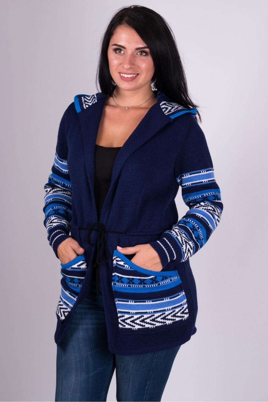 Тёплая женская вязанная кофта с узорами на молнии с 44 по 54 размер