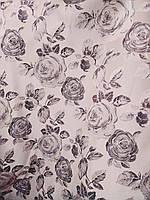 Джаккард мебельная ткань королевский с шелковой нитью ширина 150 см сублимация розы цвет нежный