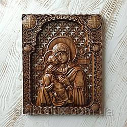 Икона резная из дерева. Владимирской Божьей Матери (2)