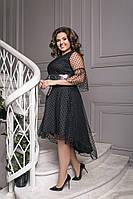 Красивое приталенное женское платье с отделкой сетки флок и декором пайетки 50-52, 54-56, 58-60