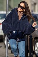 Стильная молодёжная зимняя куртка из плащёвки искусственного меха  S/M, L/XL