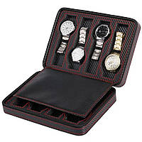 Шкатулка органайзер для хранения часов JOCESTYLE -bit watch zipper bag до 8 часов цвет чорный карбон