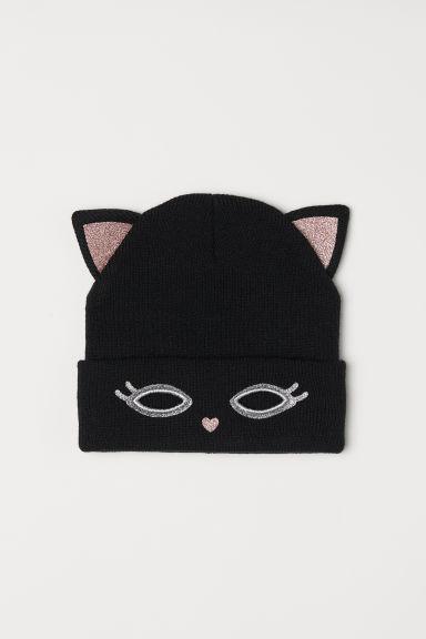 """Шапка для для девочки черная """"Кошка"""" р.1,5-4 года (обхват 50\51)"""