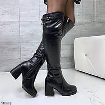 Кожаные сапоги на каблуке, фото 2