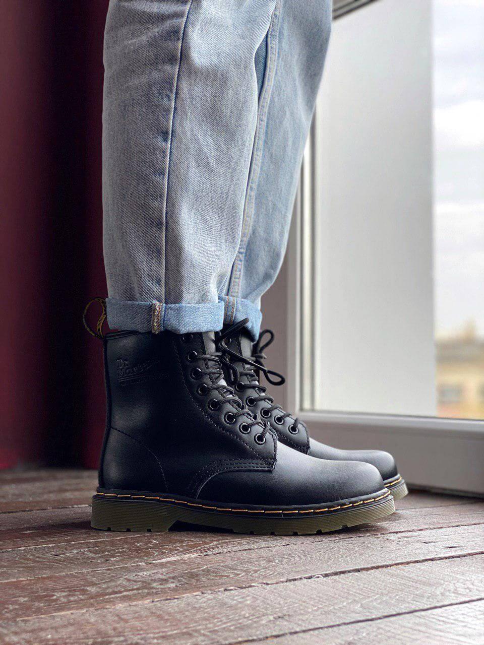 Зимние ботинки Dr. Martens 1460 Black Fur на меху (Ботинки Доктор Мартинс женские и мужские 36-44)