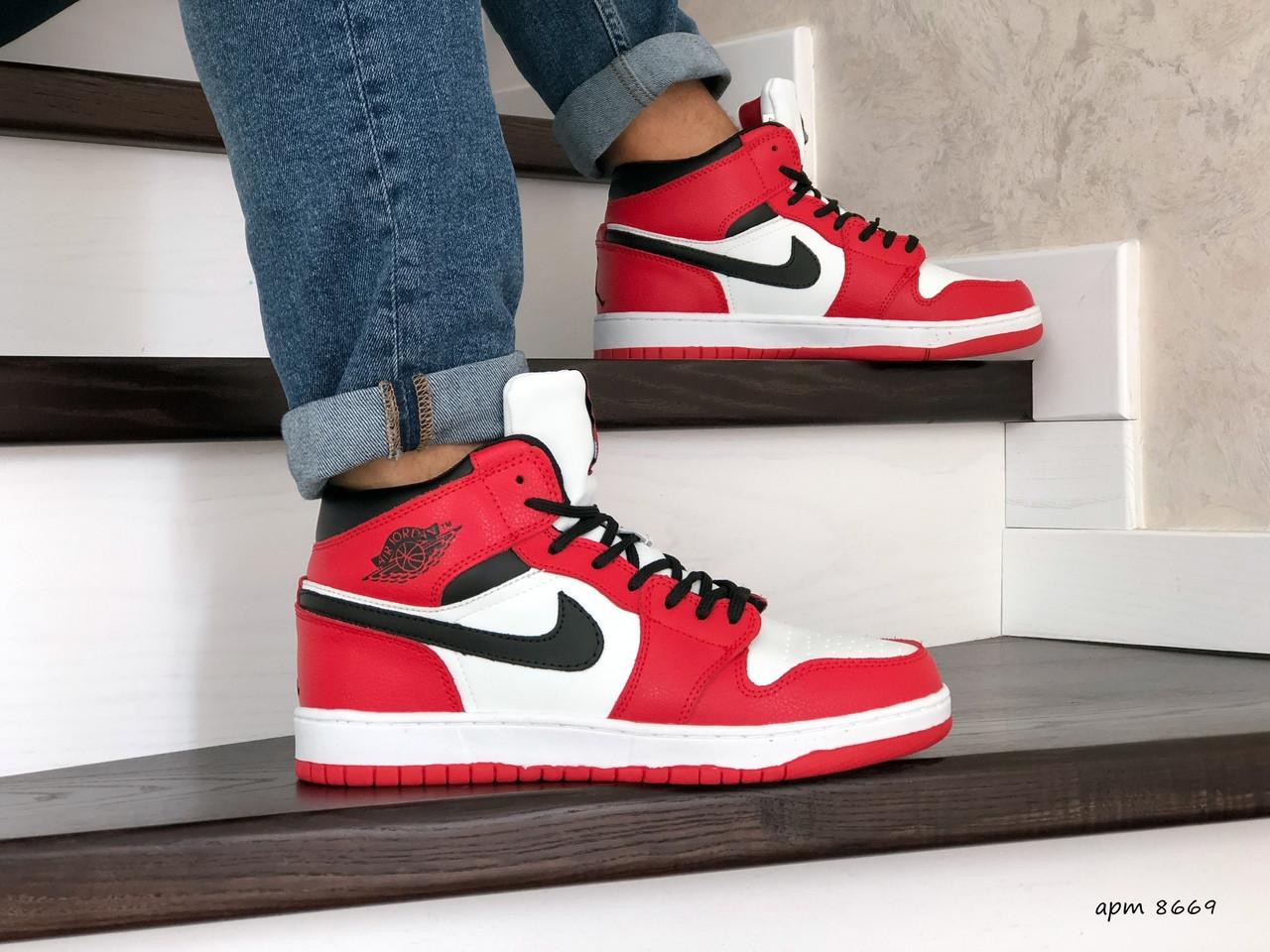 Высокие зимние мужские кроссовки Nike Air Jordan 1 Retro,красные 44р