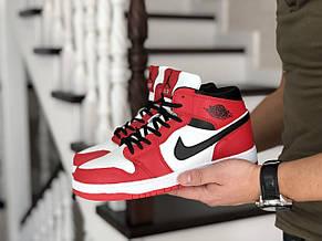 Высокие зимние мужские кроссовки Nike Air Jordan 1 Retro,красные 44р, фото 3