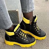 Женские черные зимние ботинки из натуральной кожи с желтым задником  и на желтой подошве на меху Vlnt
