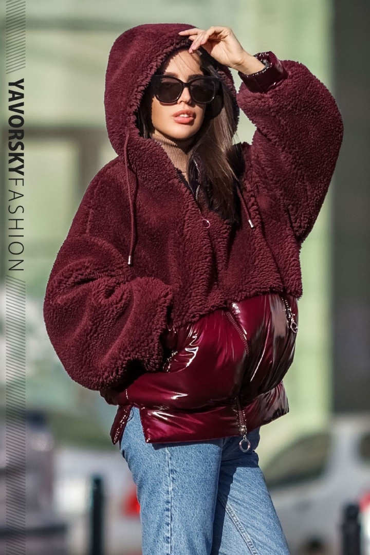 Молодёжная зимняя куртка из плащёвки искусственного меха  S/M, L/XL