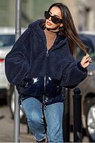 Молодёжная зимняя куртка из плащёвки искусственного меха  S/M, L/XL, фото 2