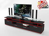 Тумба/подставка под телевизор Cinema черный/кромка красная