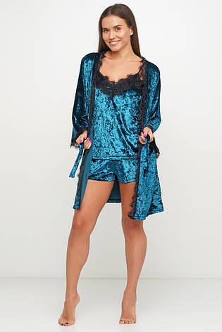 Шикарный велюровый комплект тройка халат майка шортики, фото 2