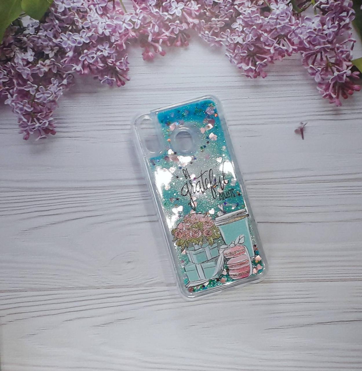 Чехол накладка Glitter Liquid на Samsung M20 (2019), Blue