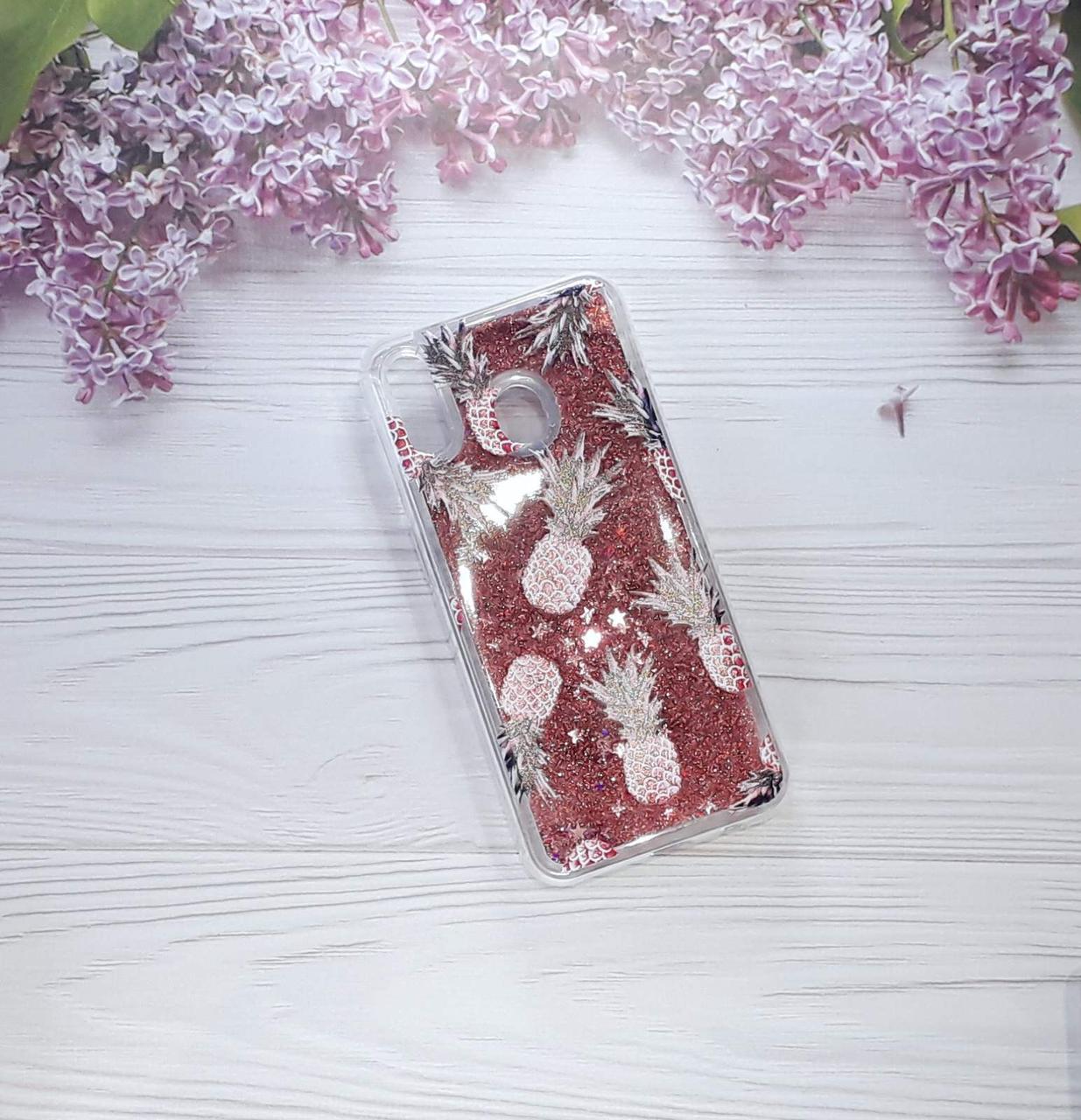 Чехол накладка Glitter Liquid на Samsung M20 (2019), Dark Pink