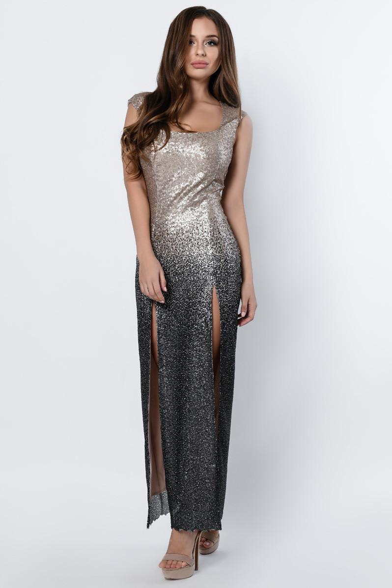 Красивое вечернее платье в пол с пайетками