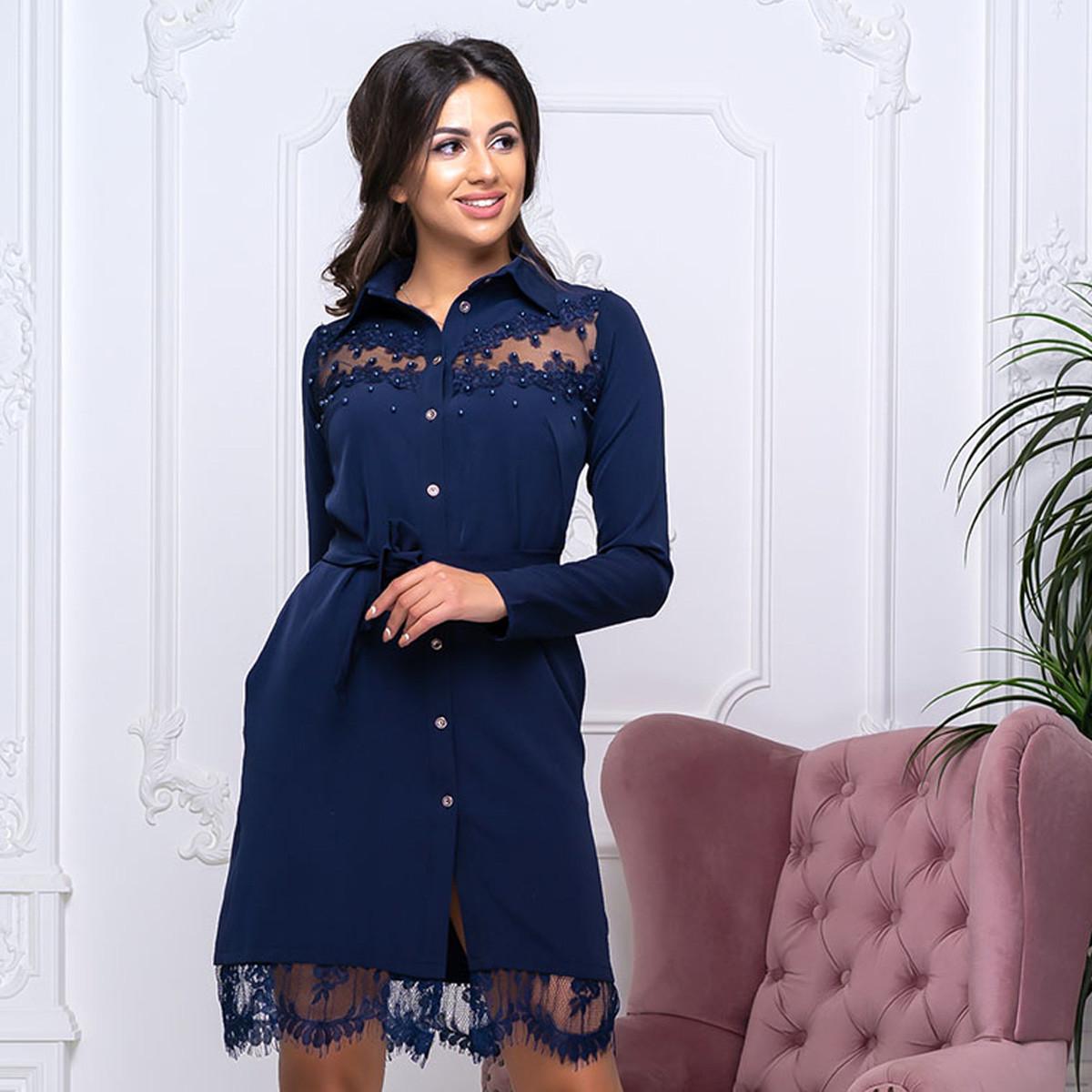 """Жіноче ошатне плаття-сорочка з мереживом """"Аріель"""""""