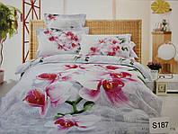 Сатиновое постельное белье евро 3D ELWAY S187