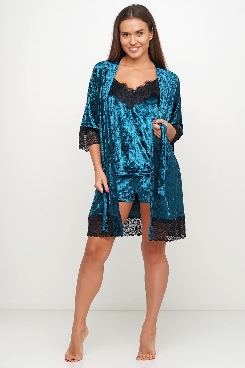 Шикарный велюровый халат с кружевом ТМ Orli