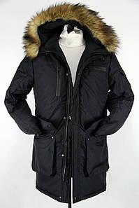 Зимняя мужская парка куртка (длинная c мехом (овчина)) до -30