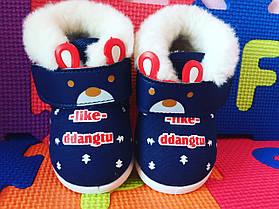 Ботинки детские на малышей с мехом холодная весна-осень  17-21 р синие, фото 2