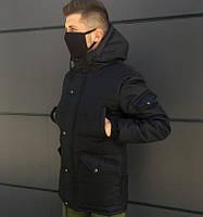Мужская зимняя парка Imperial длинная теплая черная. Живое фото