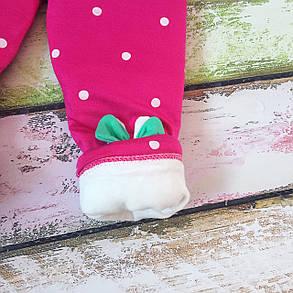 Штаны лосины детские утепленные на девочку зима синтепон+плюш розовые 1-2 года, фото 2