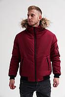Куртка мужская зимняя теплая качественная бордовая короткая, фото 1