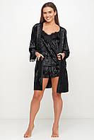 Черный велюровый халат с кружевом