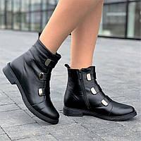 Ботинки женские зимние кожаные черные (Код: Л1630)