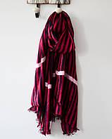 Модный женский легкий шарф в полоску цвета марсала